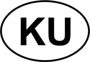 KU decal from Oval Envy.  Great price for a durable vinyl decal.  We've got animals, beaches, dogs, cats and more!  Search our catalog for your next Euro Oval Decal.