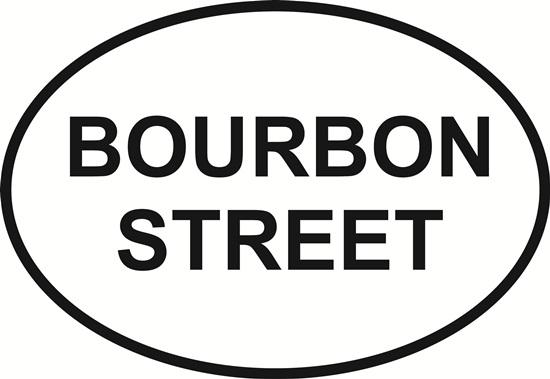 Bourbon Street decal from Oval Envy.  Great price for a durable vinyl decal.  We've got animals, beaches, dogs, cats and more!  Search our catalog for your next Euro Oval Decal.