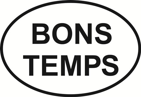 Bons Temps decal from Oval Envy.  Great price for a durable vinyl decal.  We've got animals, beaches, dogs, cats and more!  Search our catalog for your next Euro Oval Decal.