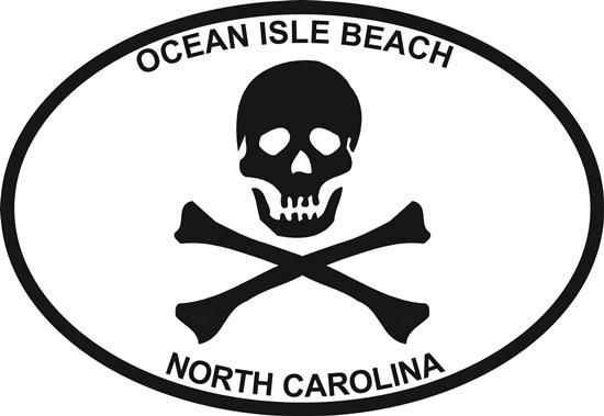 Jolly Roger (Ocean Isle Beach) decal from Oval Envy.  Great price for a durable vinyl decal.  We've got animals, beaches, dogs, cats and more!  Search our catalog for your next Euro Oval Decal.