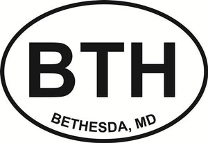 Bethesda (BTH) decal from Oval Envy.  Great price for a durable vinyl decal.  We've got animals, beaches, dogs, cats and more!  Search our catalog for your next Euro Oval Decal.