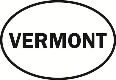Vermont decal from Oval Envy.  Great price for a durable vinyl decal.  We've got animals, beaches, dogs, cats and more!  Search our catalog for your next Euro Oval Decal.