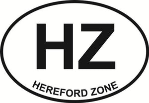 Hereford Zone (HZ) decal from Oval Envy.  Great price for a durable vinyl decal.  We've got animals, beaches, dogs, cats and more!  Search our catalog for your next Euro Oval Decal.