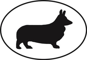 Corgi (Pembroke Welsh) decal from Oval Envy.  Great price for a durable vinyl decal.  We've got animals, beaches, dogs, cats and more!  Search our catalog for your next Euro Oval Decal.