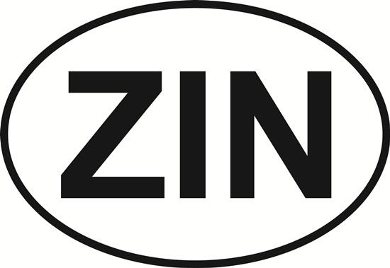 Zin decal from Oval Envy.  Great price for a durable vinyl decal.  We've got animals, beaches, dogs, cats and more!  Search our catalog for your next Euro Oval Decal.