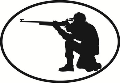 Rifle decal from Oval Envy.  Great price for a durable vinyl decal.  We've got animals, beaches, dogs, cats and more!  Search our catalog for your next Euro Oval Decal.