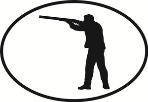 Shotgun decal from Oval Envy.  Great price for a durable vinyl decal.  We've got animals, beaches, dogs, cats and more!  Search our catalog for your next Euro Oval Decal.