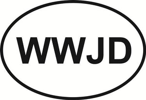 WWJD decal from Oval Envy.  Great price for a durable vinyl decal.  We've got animals, beaches, dogs, cats and more!  Search our catalog for your next Euro Oval Decal.