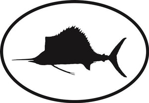 Sailfish decal from Oval Envy.  Great price for a durable vinyl decal.  We've got animals, beaches, dogs, cats and more!  Search our catalog for your next Euro Oval Decal.