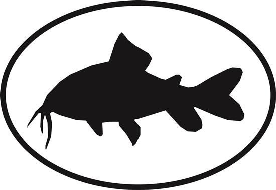 Catfish decal from Oval Envy.  Great price for a durable vinyl decal.  We've got animals, beaches, dogs, cats and more!  Search our catalog for your next Euro Oval Decal.
