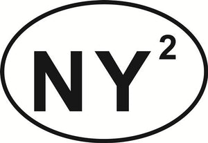 New York Squared decal from Oval Envy.  Great price for a durable vinyl decal.  We've got animals, beaches, dogs, cats and more!  Search our catalog for your next Euro Oval Decal.