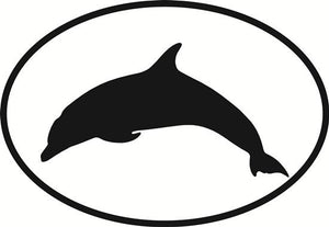 Dolphin decal from Oval Envy.  Great price for a durable vinyl decal.  We've got animals, beaches, dogs, cats and more!  Search our catalog for your next Euro Oval Decal.