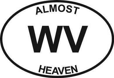 Almost Heaven (WV) decal from Oval Envy.  Great price for a durable vinyl decal.  We've got animals, beaches, dogs, cats and more!  Search our catalog for your next Euro Oval Decal.