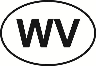 West Virginia (WV) decal from Oval Envy.  Great price for a durable vinyl decal.  We've got animals, beaches, dogs, cats and more!  Search our catalog for your next Euro Oval Decal.