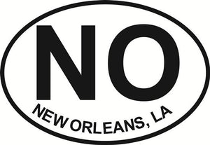 New Orleans (NO) decal from Oval Envy.  Great price for a durable vinyl decal.  We've got animals, beaches, dogs, cats and more!  Search our catalog for your next Euro Oval Decal.