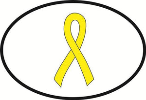 Yellow Ribbon (COLOR) decal from Oval Envy.  Great price for a durable vinyl decal.  We've got animals, beaches, dogs, cats and more!  Search our catalog for your next Euro Oval Decal.