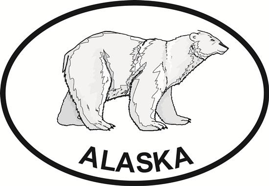 Alaska Polar Bear decal from Oval Envy.  Great price for a durable vinyl decal.  We've got animals, beaches, dogs, cats and more!  Search our catalog for your next Euro Oval Decal.