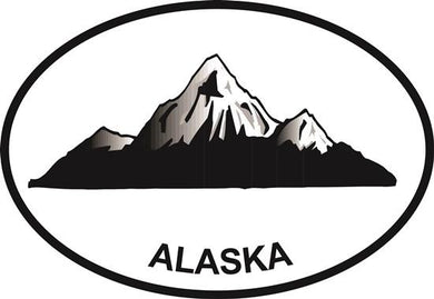 Alaska Mountain decal from Oval Envy.  Great price for a durable vinyl decal.  We've got animals, beaches, dogs, cats and more!  Search our catalog for your next Euro Oval Decal.