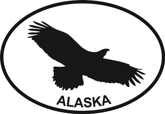 Eagle (Alaska) decal from Oval Envy.  Great price for a durable vinyl decal.  We've got animals, beaches, dogs, cats and more!  Search our catalog for your next Euro Oval Decal.