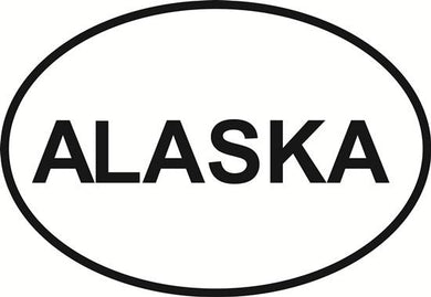 Alaska decal from Oval Envy.  Great price for a durable vinyl decal.  We've got animals, beaches, dogs, cats and more!  Search our catalog for your next Euro Oval Decal.