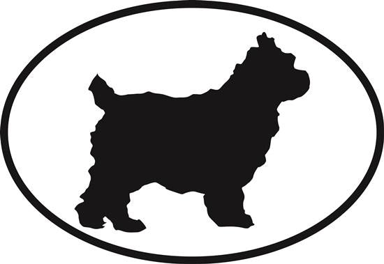 Cairn Terrier decal from Oval Envy.  Great price for a durable vinyl decal.  We've got animals, beaches, dogs, cats and more!  Search our catalog for your next Euro Oval Decal.