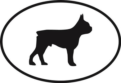 Boston Terrier decal from Oval Envy.  Great price for a durable vinyl decal.  We've got animals, beaches, dogs, cats and more!  Search our catalog for your next Euro Oval Decal.