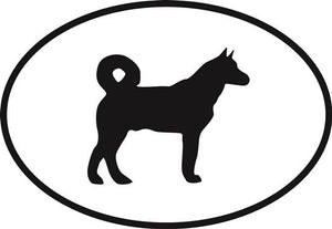 Akita decal from Oval Envy.  Great price for a durable vinyl decal.  We've got animals, beaches, dogs, cats and more!  Search our catalog for your next Euro Oval Decal.