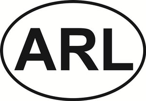 Arlington (ARL) decal from Oval Envy.  Great price for a durable vinyl decal.  We've got animals, beaches, dogs, cats and more!  Search our catalog for your next Euro Oval Decal.