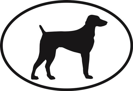 Viszla decal from Oval Envy.  Great price for a durable vinyl decal.  We've got animals, beaches, dogs, cats and more!  Search our catalog for your next Euro Oval Decal.