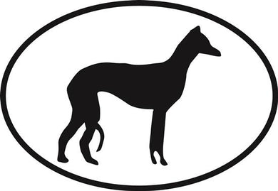 Italian Greyhound decal from Oval Envy.  Great price for a durable vinyl decal.  We've got animals, beaches, dogs, cats and more!  Search our catalog for your next Euro Oval Decal.