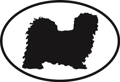 Lhasa Apso decal from Oval Envy.  Great price for a durable vinyl decal.  We've got animals, beaches, dogs, cats and more!  Search our catalog for your next Euro Oval Decal.