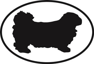 Pekingese decal from Oval Envy.  Great price for a durable vinyl decal.  We've got animals, beaches, dogs, cats and more!  Search our catalog for your next Euro Oval Decal.
