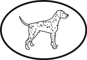 Dalmatian decal from Oval Envy.  Great price for a durable vinyl decal.  We've got animals, beaches, dogs, cats and more!  Search our catalog for your next Euro Oval Decal.