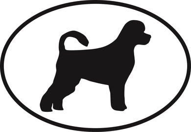 Portuguese Water Dog decal from Oval Envy.  Great price for a durable vinyl decal.  We've got animals, beaches, dogs, cats and more!  Search our catalog for your next Euro Oval Decal.