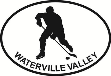 Ice Hockey (Waterville Valley) decal from Oval Envy.  Great price for a durable vinyl decal.  We've got animals, beaches, dogs, cats and more!  Search our catalog for your next Euro Oval Decal.