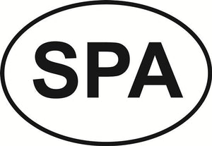 Spartanburg (SPA) decal from Oval Envy.  Great price for a durable vinyl decal.  We've got animals, beaches, dogs, cats and more!  Search our catalog for your next Euro Oval Decal.