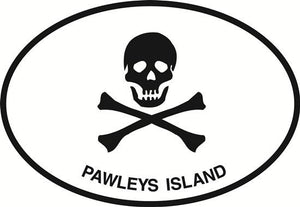 Jolly Roger (Pawleys Island) decal from Oval Envy.  Great price for a durable vinyl decal.  We've got animals, beaches, dogs, cats and more!  Search our catalog for your next Euro Oval Decal.