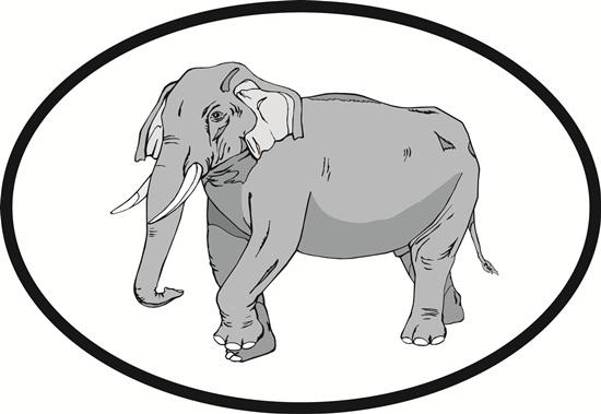 Elephant decal from Oval Envy.  Great price for a durable vinyl decal.  We've got animals, beaches, dogs, cats and more!  Search our catalog for your next Euro Oval Decal.