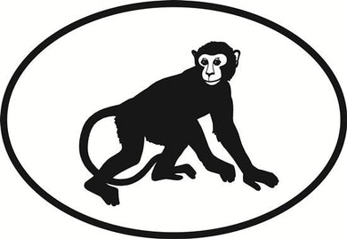 Monkey decal from Oval Envy.  Great price for a durable vinyl decal.  We've got animals, beaches, dogs, cats and more!  Search our catalog for your next Euro Oval Decal.