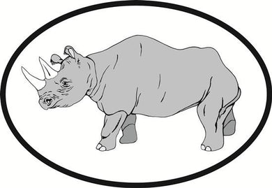 Rhino decal from Oval Envy.  Great price for a durable vinyl decal.  We've got animals, beaches, dogs, cats and more!  Search our catalog for your next Euro Oval Decal.