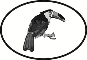 Toucan decal from Oval Envy.  Great price for a durable vinyl decal.  We've got animals, beaches, dogs, cats and more!  Search our catalog for your next Euro Oval Decal.