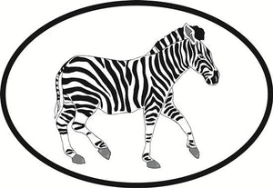 Zebra decal from Oval Envy.  Great price for a durable vinyl decal.  We've got animals, beaches, dogs, cats and more!  Search our catalog for your next Euro Oval Decal.