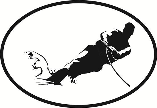 Water Skiing decal from Oval Envy.  Great price for a durable vinyl decal.  We've got animals, beaches, dogs, cats and more!  Search our catalog for your next Euro Oval Decal.