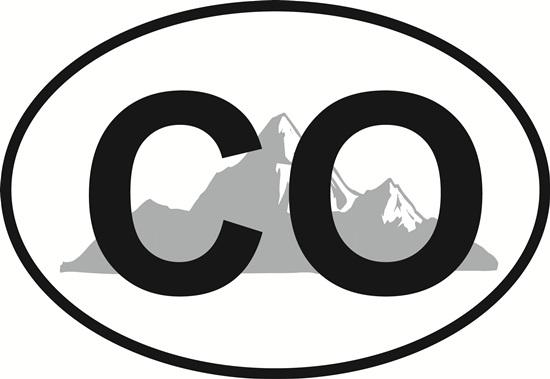 Colorado Mountain decal from Oval Envy.  Great price for a durable vinyl decal.  We've got animals, beaches, dogs, cats and more!  Search our catalog for your next Euro Oval Decal.