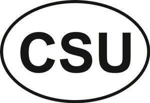 CSU decal from Oval Envy.  Great price for a durable vinyl decal.  We've got animals, beaches, dogs, cats and more!  Search our catalog for your next Euro Oval Decal.