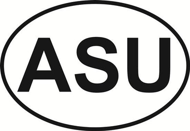 ASU decal from Oval Envy.  Great price for a durable vinyl decal.  We've got animals, beaches, dogs, cats and more!  Search our catalog for your next Euro Oval Decal.