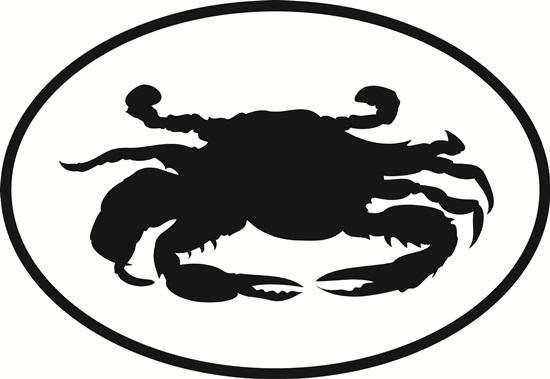 Crab decal from Oval Envy.  Great price for a durable vinyl decal.  We've got animals, beaches, dogs, cats and more!  Search our catalog for your next Euro Oval Decal.