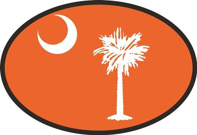 South Carolina Orange Flag decal from Oval Envy.  Great price for a durable vinyl decal.  We've got animals, beaches, dogs, cats and more!  Search our catalog for your next Euro Oval Decal.