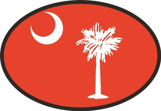 South Carolina Red Flag decal from Oval Envy.  Great price for a durable vinyl decal.  We've got animals, beaches, dogs, cats and more!  Search our catalog for your next Euro Oval Decal.
