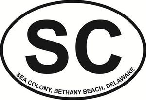 Sea Colony (SC) decal from Oval Envy.  Great price for a durable vinyl decal.  We've got animals, beaches, dogs, cats and more!  Search our catalog for your next Euro Oval Decal.